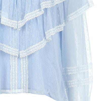 ruffle detail lace blouse blue